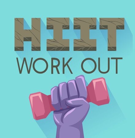 Illustration of a Hand Holding a Dumbbell with HIIT Workout Above