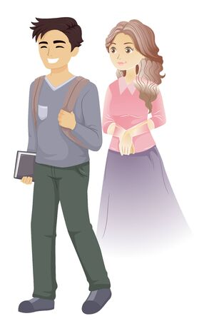 Teenage Guy Student Walking and Smiling with a Girl Ghost Following Him From Behind