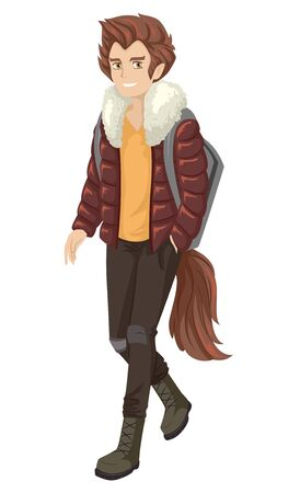 Teenage Guy Wearing Wolf Costume with Tail and Wig for Halloween Party