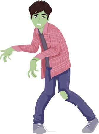 Teenage Guy Wearing and Posing Like a Zombie for Halloween Stok Fotoğraf