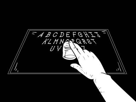 Hand Holding a Shot Glass and Using a Spirit Board to Talk to the Dead
