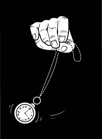 Hand Holding and Swaying a Pocket Watch for Hypnosis