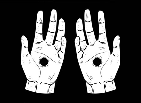 Hands with a Hole on Each Hand. Stigmata in Black and White Imagens