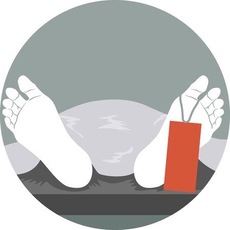 Dead Body Lying Down the Morgue Showing Feet with Label Stockfoto