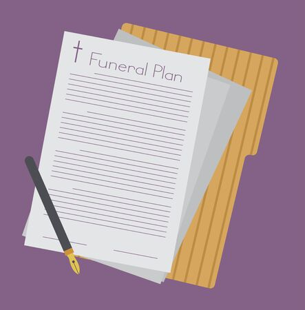 Funeral Plan or Policy with Pen and Folder for Signing