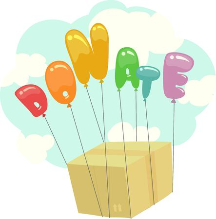 Donate Lettering Balloons Carrying a Box Full of Donation Up the Sky