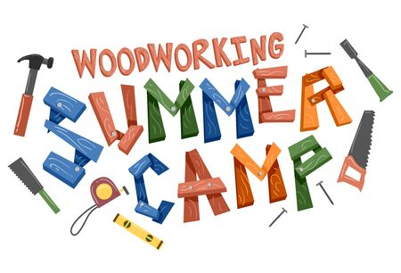 Woodworking Summer Camp Lettering Design with Different Tools from Hammer, Tape Measure to Hand Saw Stok Fotoğraf