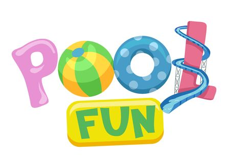 Pool Fun Lettering with Ball, Flotation Device and Slide Stok Fotoğraf