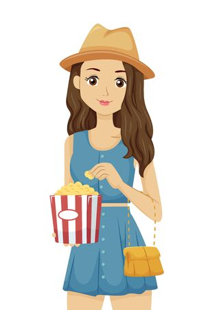 Teenage Girl Holding a Popcorn Ready to Watch Movie in a Cute Denim Top and Skirt with Bag and Fedora Hat