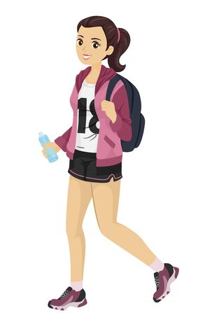 Teenage Girl Wearing a Shorty Casual Shorts with a Backpack and Bottle of Water