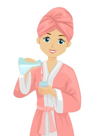 Teenage Girl Wearing a Pink Bathrobe with Pink Towel Wrapped on Her Hair Using Her Own Concoction of Beauty Products