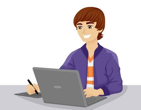 Teenage Guy Using a Laptop and Graphic Pen Creating Digital Graphics Stok Fotoğraf - 129828861