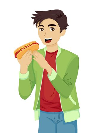 Teenage Guy Eating a Hotdog Sandwich