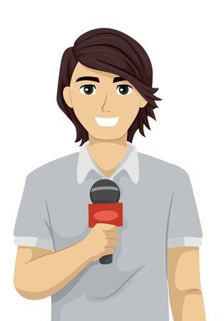Chico adolescente reportando sonriendo y sosteniendo un micrófono para una entrevista