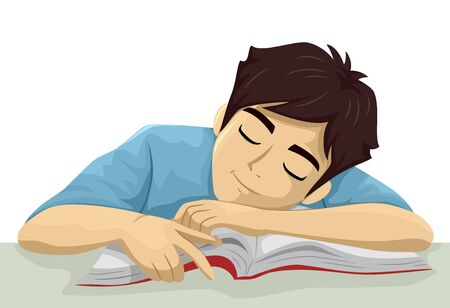 Teenage Guy Student Sleeping Over an Open Book While Studying Фото со стока