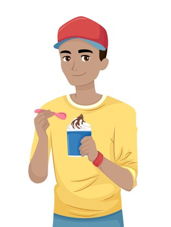 Teenage Guy Holding a Spoon and Eating Ice Cream Sundae