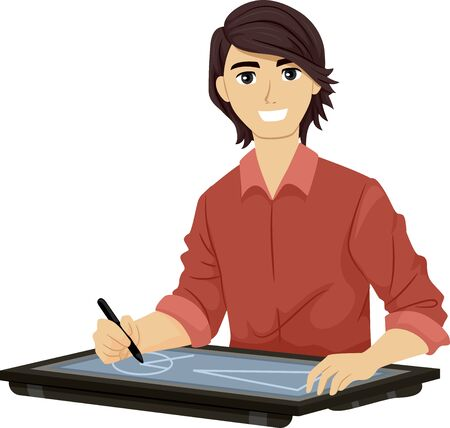 Teenage Guy Holding a Graphic Pen on a Big Drawing Tablet for Creating Graphics