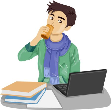 Teenage Guy Drinking a Can of Energy Drink While Studying and Using a Laptop with Several Books on Desk Фото со стока