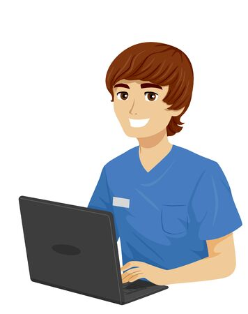 Teenage Medical Student Guy Wearing Scrub Suit and Using a Laptop Stok Fotoğraf - 129828873