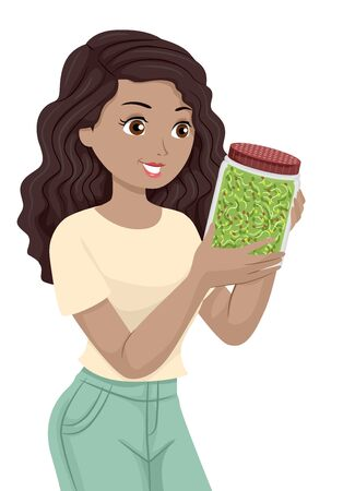 Teenage Girl Looking at and Holding a Jar Full of Broccoli Sprouts Фото со стока