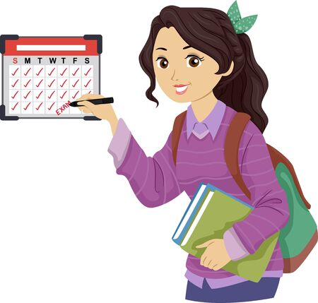 Teenage Girl Student Marking Her Calendar with Exam Schedule