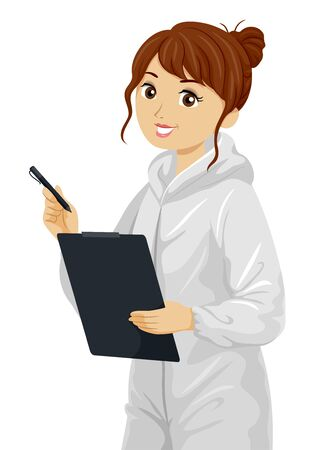 Teenage Girl Wearing White Forensic Coveralls and Holding a Pen and Clipboard