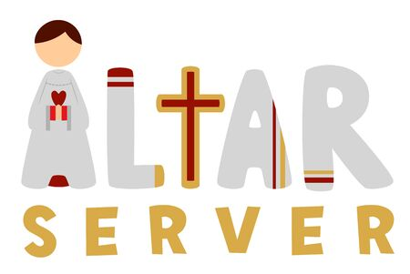 Altar Server Lettering with a Boy in White Alb as Letter A Stock Photo