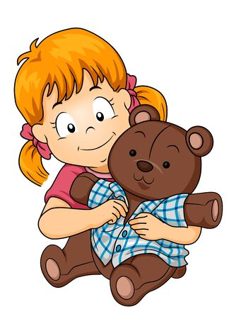 Kid Girl Dressing Up Her Stuffed Teddy Bear Toy 写真素材