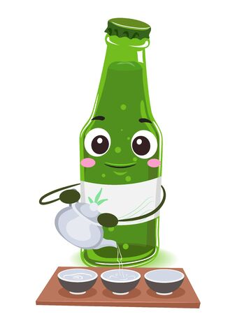 Bottle of Soju Mascot Holding a Kettle Pouring Drinks on Tiny Bowls