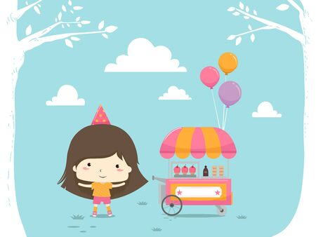 Kid Girl Wearing Party Hat Standing Next to an Ice Cart with Balloons Banco de Imagens