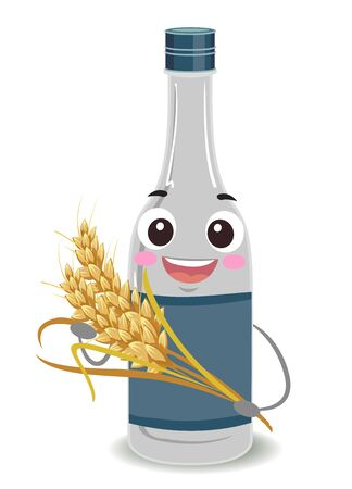 Bottle of Wine Rice Mascot Holding a Stalk of Rice