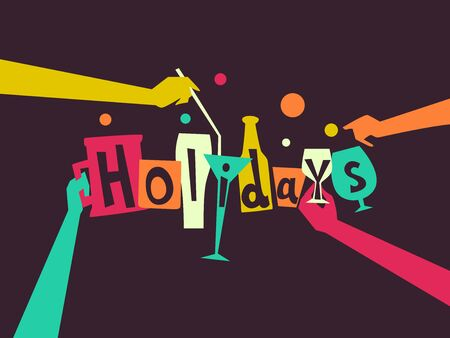 Hands and Holidays Lettering Design with Party Drinks 스톡 콘텐츠