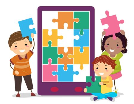Kids Completing a Puzzle App on Mobile Phone Stock fotó