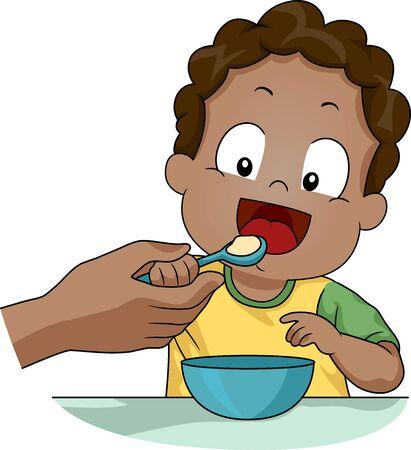 La mano del genitore insegna al suo bambino a mangiare da solo