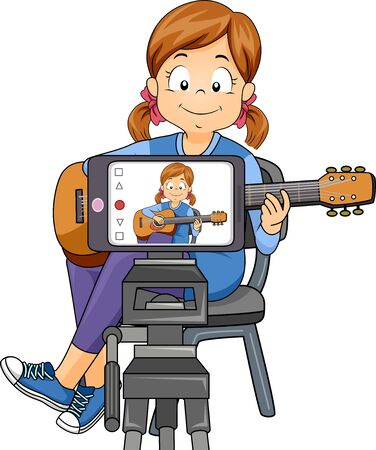 Kid Girl Recording Her Self Through Mobile Phone, Playing an Acoustic Guitar