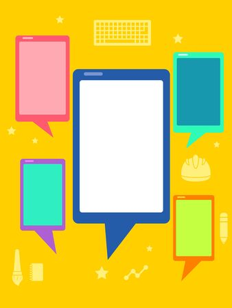 Board  of Mobile Phones as Speech Bubbles Talking to Each Other Stock fotó