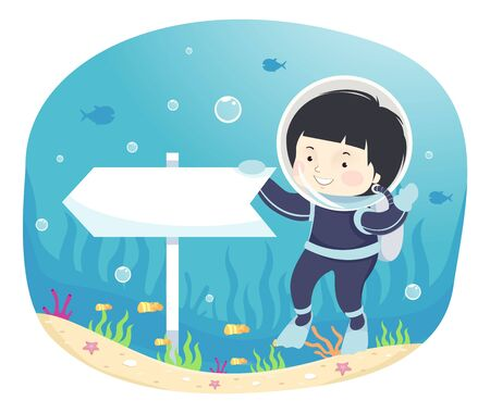 Kid Boy in Scuba Diving Gear Holding an Arrow Board Pointing to His Right