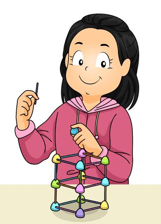 Kid Girl Using Sticks and Gumdrops as Part of STEM Engineering Project