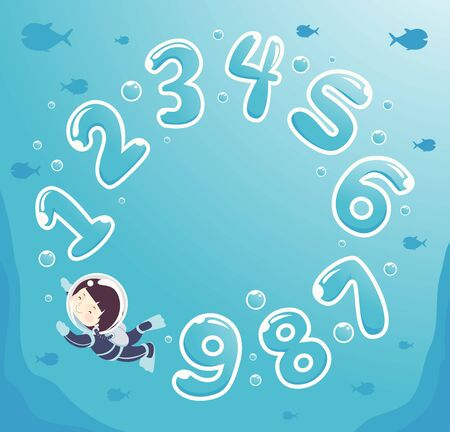 Kid Boy in Scuba Diving Suit Swimming Among Numbers Bubbles Underwater Stock Photo