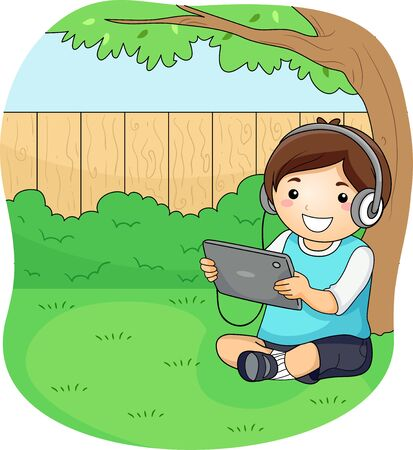 Kid Boy Wearing a Headphone and Looking at a Tablet Computer Under a Tree Outdoors