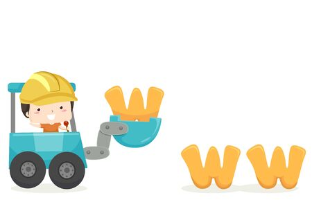Kid Boy Developer Operating an Excavator Carrying WWW.