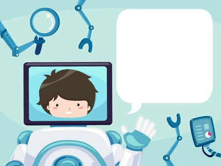 Kid Boy as the Robot Face on Monitor Waving with a Blank Speech Bubble