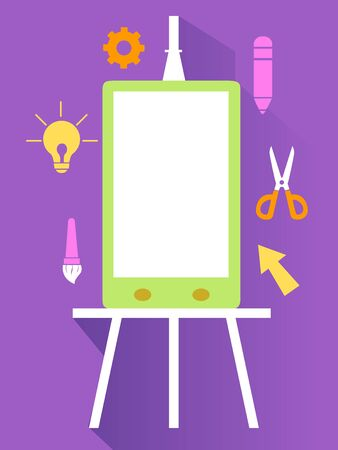 Mobile Phone on Easel with Different Design Icons
