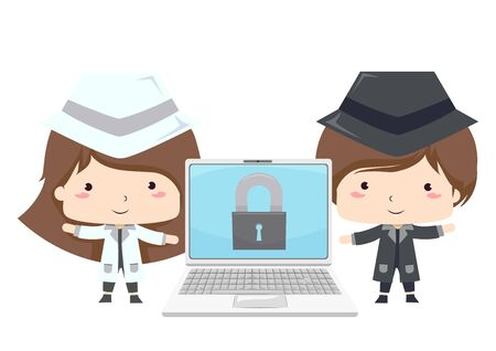 Kids Wearing White and Black Hat Standing Beside a Laptop with Padlock on Screen