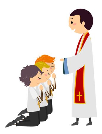 Priest Ordinating Kids Boys Kneeling Down as Altar Server Фото со стока