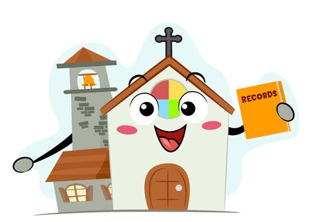 Church Mascot Smiling and Holding a Records Book
