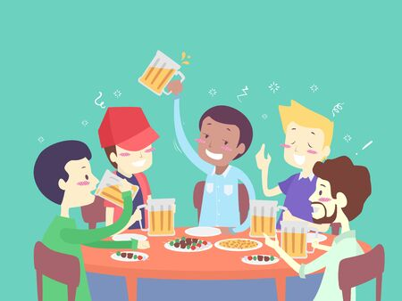 Men Friends Sitting Around a Table Drinking Mugs of Beer with Food