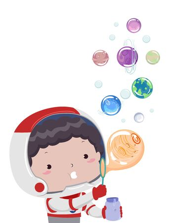 Kid Boy Astronaut Blowing Bubbles of Different Planets Imagens