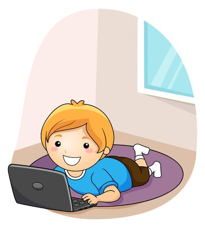 Kid Boy Using a Laptop While Lying Down on the Floor Rug Banco de Imagens