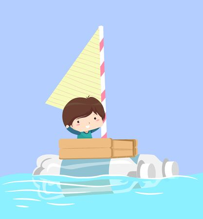 Kid Boy Riding a Recycled Boat Made from Plastic Bottle, Wood Palette, Straw and Paper